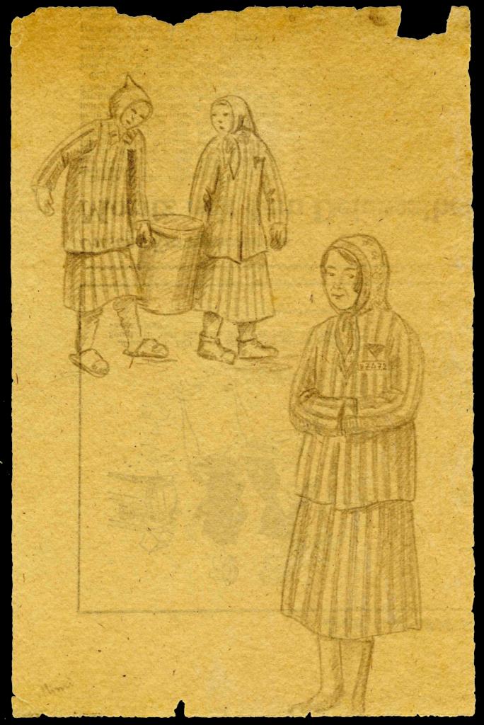 Bleistiftzeichnung von drei Frauen in Häftlingskleidung